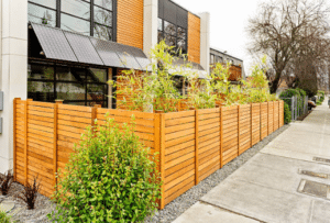 Modern Horizontal Wood Fence at Cafe in Vernon WI