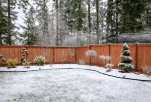 Red Cedar Fence in Chenequa WI Wintertime